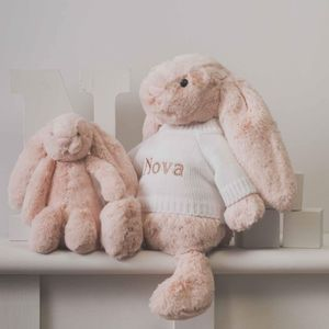 Personalised Blush Pink Bashful Bunny Soft Toy - baby toys