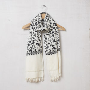 Pure Pashmina Wool Scarf Embroidered Black On Cream - fashion accessories