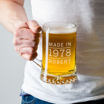 Personalised Pint Glass Tankard For Him