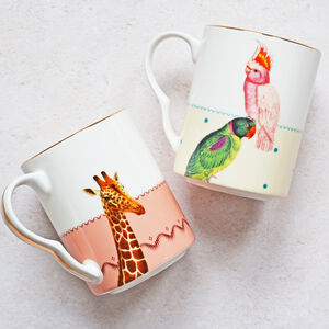 Giraffe And Parrot Mugs, Set Of Two