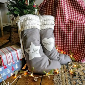 Personalised Grey Linen Christmas Stocking - stockings & sacks