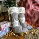 Personalised Grey Linen Christmas Stocking