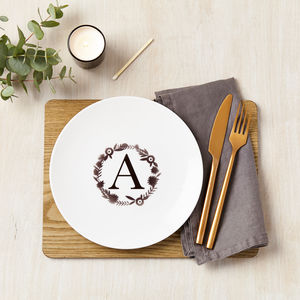 Personalised Floral Initial Ceramic Plate - crockery & chinaware