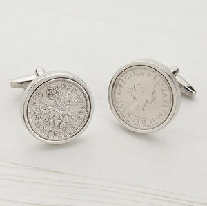 Sixpence 60th 1956 Birthday Coin Cufflinks - cufflinks