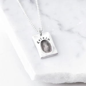 Personalised Silver Fingerprint Dog Tag - necklaces