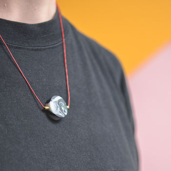 'Nebula' Black Marbled Disc And Bar Necklace
