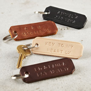 Personalised Handstamped Leather Keyring - mens