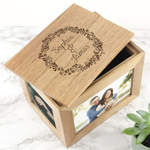 Personalised Floral Framed Couples Photo Keepsake Box - keepsake boxes