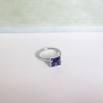 Sterling Silver Ring With Tanzanite Swarovski Crystal