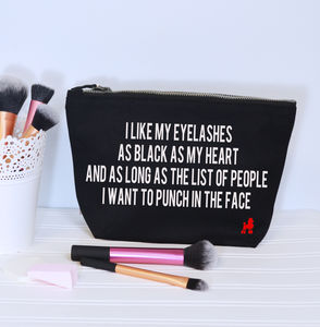 Black Eyelashes Black Heart Make Up Bag