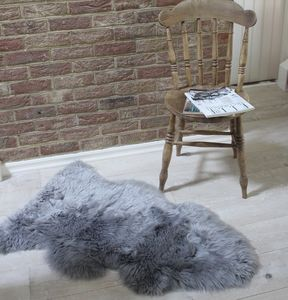 Grey Longhair Sheepskin Rug