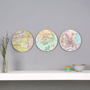 Three Personalised Map Wall Art Circles For Him