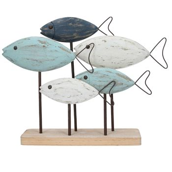 Wooden Fish Shoal With Wire Tails