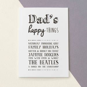 Personalised 'Happy Things' Card For Dad