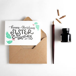 Sister And Brother In Law Letterpress Christmas Card - cards