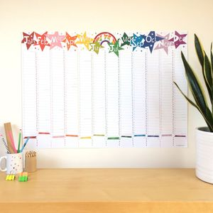 2020 Large Rainbow Star Wall Planner Calendar