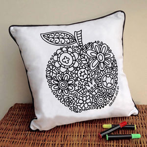 Apple Doodle Cushion To Colour In