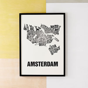 Amsterdam Letter Map Screen Print - posters & prints