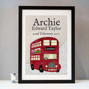 Personalised Birth Date Red Bus Print - children's room