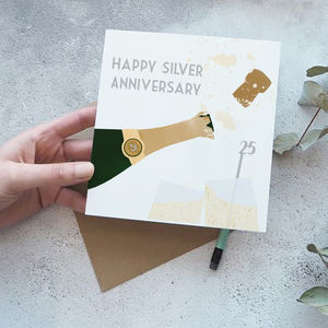25th Silver Wedding Anniversary Card - anniversary cards