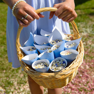 20 Biodegradable Petal Wedding Confetti Cone Basket