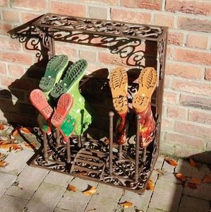Decorative Cast Iron Boot Storage Rack - shelves