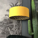 Wild Leopard Lampshade In Egg Yolk Yellow Cotton