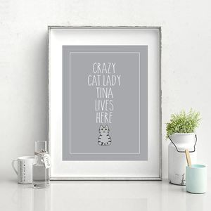 Personalised Crazy Cat Lady Print - what's new