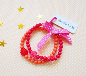 Frida Flower Coral Bracelet Set