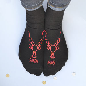 Personalised Valentine's Lobsters Socks - underwear & socks