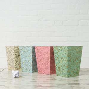 Recycled Gold Floral Waste Paper Bin Large - bins & buckets
