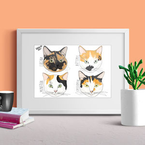 Personalised Cat Head Portrait