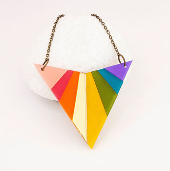 Rainbow Arrowhead Necklace