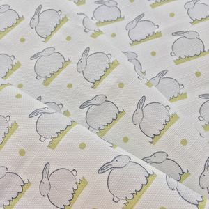 Bunny Linen Nursery Fabric By The Metre White And Grey