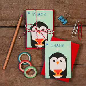 Children's Mini Thank You Cards Penguin - thank you cards
