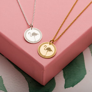 Flamingo Disc Necklace - new gifts for her