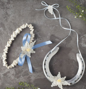 Charlotte Garter And Wedding Horseshoe Gift Set - wedding fashion