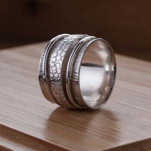 Wide Silver Birch Spinner Ring - rings