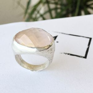 Silver Rose Quartz Rox Ring