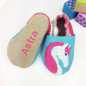 Personalised Embroidered Unicorn Baby Shoes - summer sale