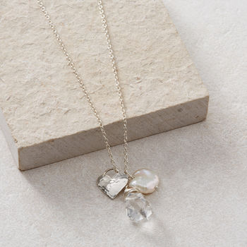 Rough Herkimer Diamond, Pearl And Heart Necklace