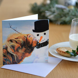 Cow And Snowman Christmas Card