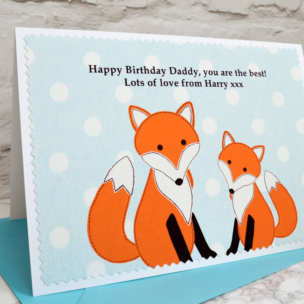 fox and cub personalised birthday card by jenny arnott cards – Birthday Card for Child