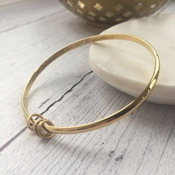 9ct Solid Yellow Gold Bangle With Rings