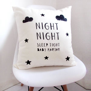 Personalised Monochrome Baby Cushion - top 50 christening gifts