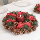 Ribbon And Roses Christmas Candle Table Centerpiece