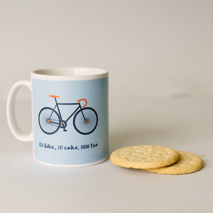 Ride Bike, Eat Cake, Drink Tea Mug And Box
