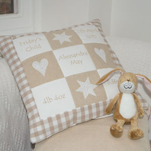 Personalised Natural Memory Cushion** - children's cushions