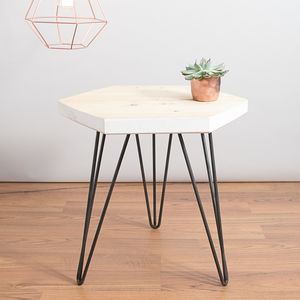 Reclaimed Wooden Geometric Table With Hairpin Legs - side tables