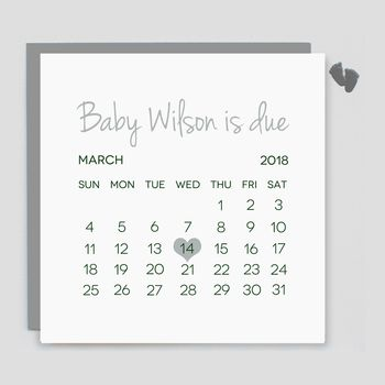 Personalised Baby Due Date Card